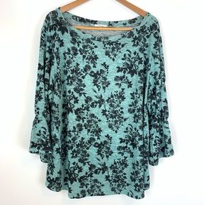 Maurices Turquoise Gray Knit Floral Cute Blouse 3